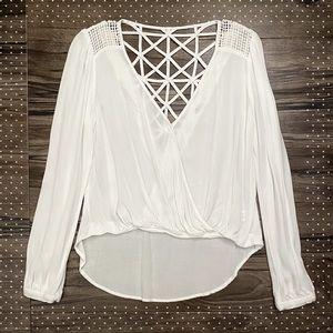 Mahina chic cross-draped long sleeve cutout top, white